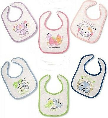 Baby Boys Girls Bibs Bib Dribble Feeding 3 Pack Set Giraffe Elephants Dinosaur