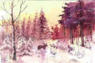 ACEO original winter painting snow sunset Woodland moose landscape art card