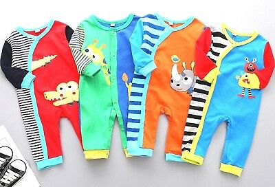 100% COTTON BOY/GIRL Footless BabyGrow Sleepsuits Romper Playsuits Set,6,12,18,M