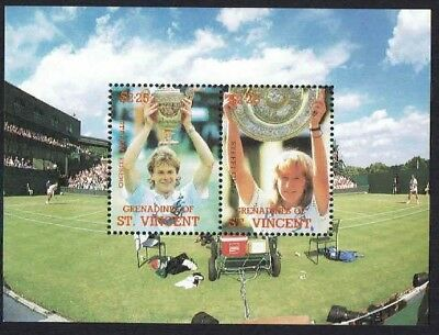 St.Vincent Grenadines 1988 Lawn Tennis Edberg and Graf - Miniature Sheet MNH