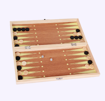 3 in 1 Wooden Board Game Set Travel Games Chess Backgammon Draughts 30cm X 30cm