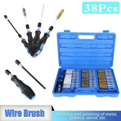 38Pc Small Wire Brush Cleaning Set Kit Remove Rust Brass Hex Drill Bit Metal New