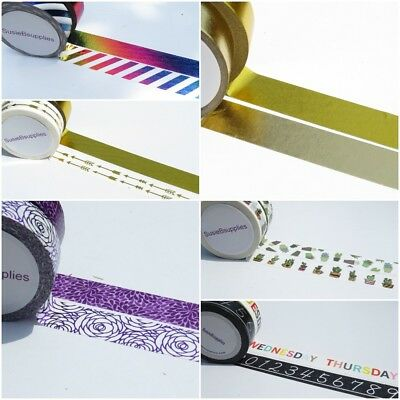 2 Roll Washi Tape Sets. Foils Coppers Gold washi tape. 2 x 15mm x 10 Metre Rolls