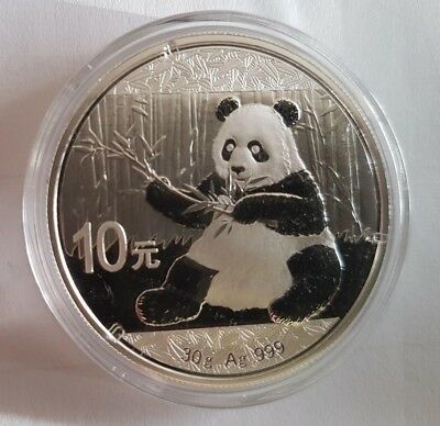 2017 Chinese Panda 30 Gram .999 Silver 10 Yuan Mint Sealed BU in  Capsule  Coin