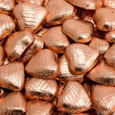 Copper Foil Wrapped Belgian Milk Chocolate Hearts Wedding Party  Favours