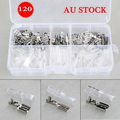 120pcs Assortment Terminal Electrical Wire Crimp Connectors Male Female Spade