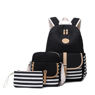 3pcs/set Canvas Women Backpack Bookbag Laptop Bagpack Travel School Bag for Girl