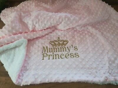 Crown Dimple Grey White Pink Blue Cream Personalised Embroidered Baby Blanket