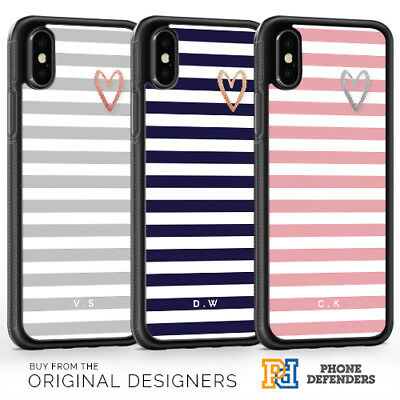 PERSONALISED HEART STRIPES Phone Case Cover Glitter Print for iPhone Samsung