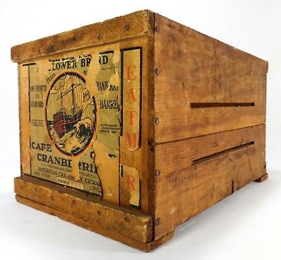 Early 20Th C Vint Mayflower Brand Cape Cod Cranberry Wood Box Crate, Paper Label