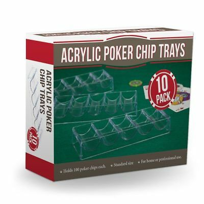 Brybelly Clear Acrylic Poker Chip Trays-Pack of 10, Casinos Professional Home