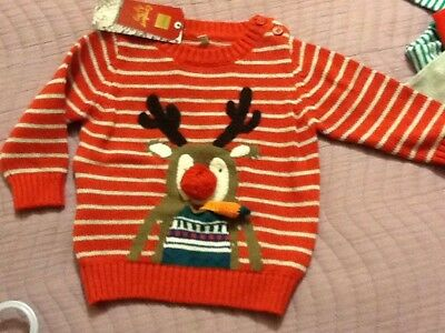 Marks and Spencer baby unisex red striped long sleeve Christmas jumper (BNWT)