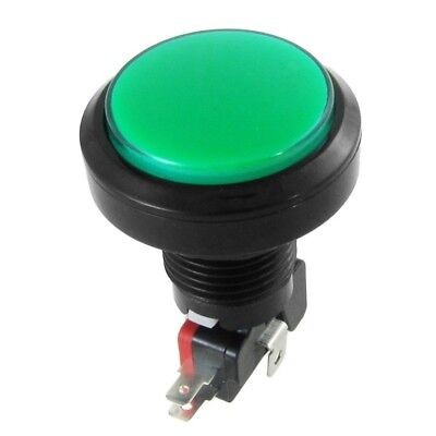 1X(12V DC LED Light Illuminated Green Round Momentary Push Button Switch 1 S6V1