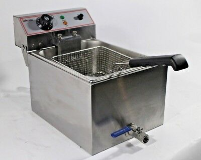 3KW 13L Electric Deep Fryer Fat Chip Commercial Counter-Top with Oil Drain Tap