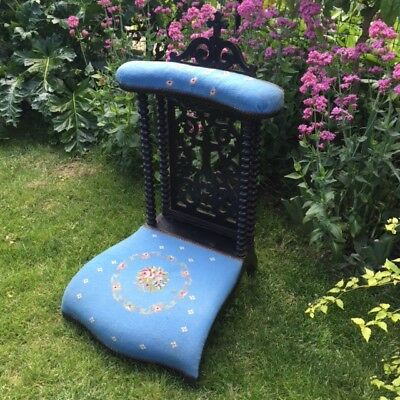 FAB Old FRENCH PRIE-DIEU KNEELER Roses Blue Tapestry Ebonized Carved Wood 1850