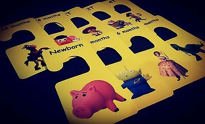 Neutral Baby clothes closet dividers. Size newborn - 4T. Hangers toy story theme