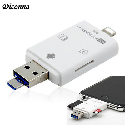 New USB i-Flash Drive Micro SD/TF Memory Card Reader Adapter For iPhone Android