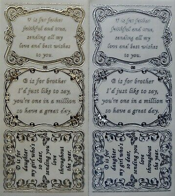 Double Embossed Clear Family Verses PEEL OFF STICKERS 3 Verses No. 08 Birthday