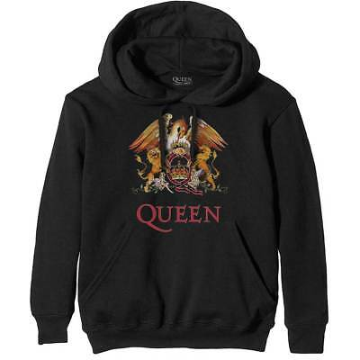 Offical QUEEN Classic Crest Pull Over Hoodie New Freddie Mercury May