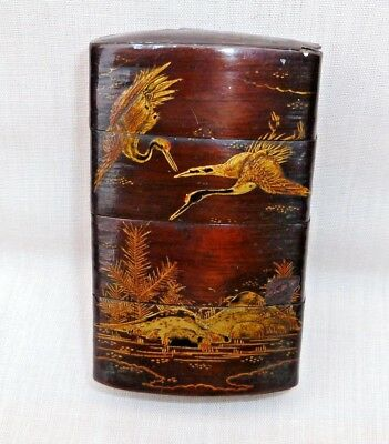 Antique Japanese 4 Section Wooden Inro Box