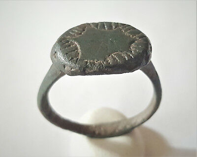 Ancient Late Roman Byzantine Bronze Engraved Ring 4-5 Ad