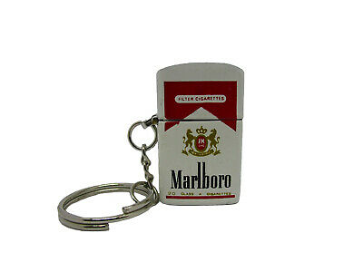 Vintage Unique Marlboro Windproof Mini Lighter Keychain Keyring Unburned NOS
