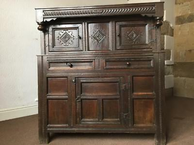 A Provincial Early 18th Century Joined Oak Press Cupboard