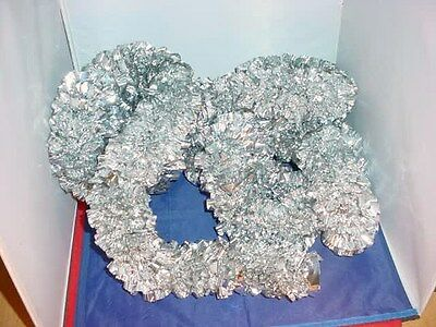 "Vintage 1960s Christmas Garland 10 Ft Long Thick Heavy Silver Foil 3"" Diameter"