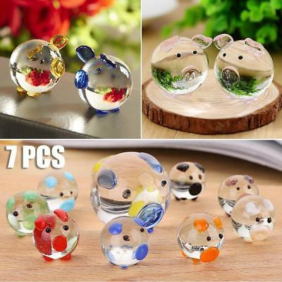 7PCS Crystal Clear Pig Set Mini Glass Pigs Figurine Ornament Birthday Xmas Gifts