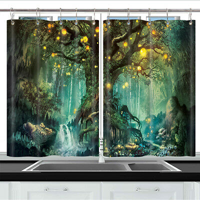 "Mystic Tree with Wishing Lamp Kitchen Curtains Window Drapes 2 Panel Set 55""x39"""