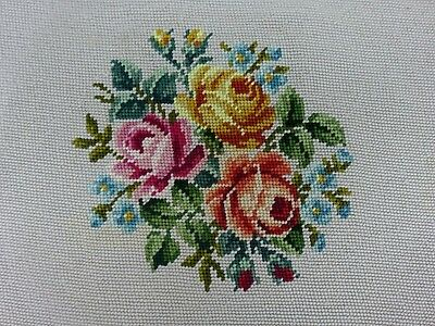 Pretty Needlepoint Tapestry Stool Pillow Seat Cover Antique Vintage Floral Rose