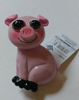 NEW ! Adorable wobble head Pig Piggy Magnet with Clip *