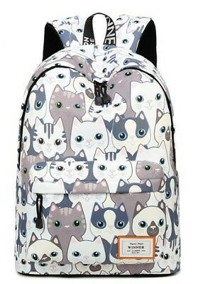 368c38069a18 BLACK COLLEGE CUTE Cat Embroidery Canvas School Laptop Backpack Bags ...