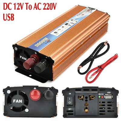 Pure Sine Wave Power Inverter 2000W(Peak4000W)  DC 12V - AC 220V Car Converter
