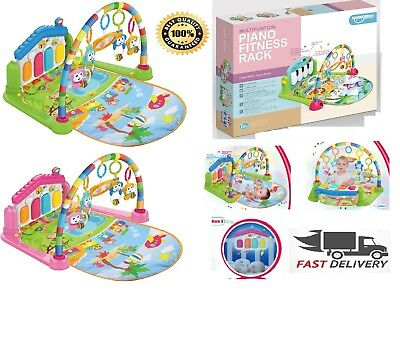 Newborn Baby 3 in 1 Gym Play Mat Piano Musical Lights Lay & Kick Fitness Arch UK