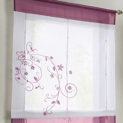 Flower Embroidered Sheer Window Curtain Voile Roman Short Small Tulle Drape N7