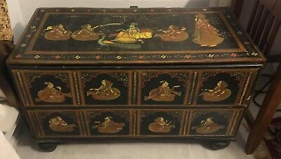 Antique Indian Hand Made Trunk Chest, Hand Painted, Work Of Art.