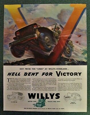 Hell Bent For Victory , Willy's Jeep V For Victory,    Willy's Overland Jeep Ad