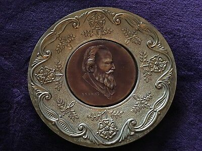 Antique BRAHMS Composer Collectible Display Wall Art Plate ENGLAND BRASS/COPPER