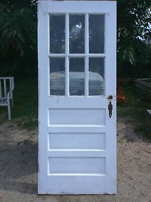 Antique Semi French/Dutch  6 Glass Pane 3 Horizontal Raised Panels Cottage Door