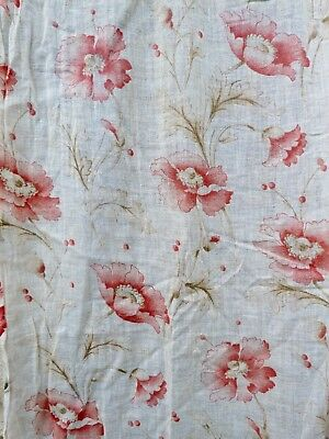 Antique French 1900/1930s floral light printed cotton fabric curtains set of 2