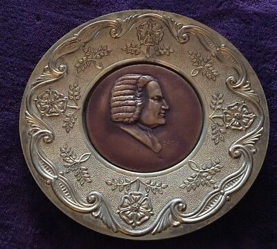 Composer Bach Wall Art Brass & Copper Collectible Display Plate Made In England