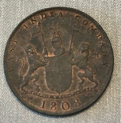 India East India Company 1808 Admiral Gardner Copper 10 Cash Km-320 Red Unc Rare