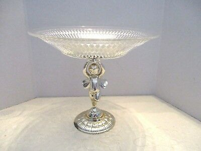 Vtg. Glass Silver Gold Plated Pedestal Cherub Compote Cookie Candy Server Plate