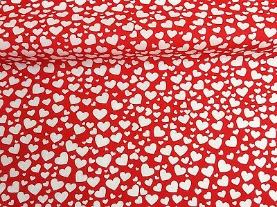 Clearance Sale Red Hearts Valentine Polycotton Fabric SOLD PER HALF METRE