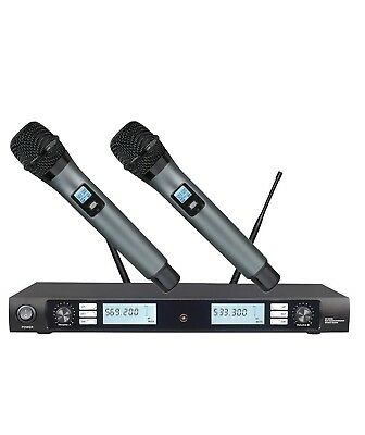 UHF Wireless Microphone System Professional Dual Handheld Church Cordless mics