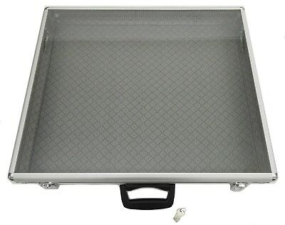 34x22x3 Portable Table Top Aluminum Display Case--with handle, lock, side panels