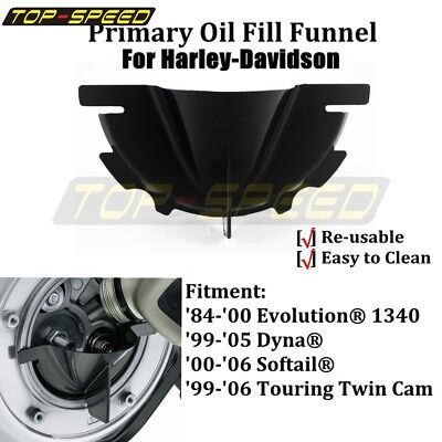Black Primary Oil Fill Funnel For Harley Fat Boy Softail Road King Super Glide