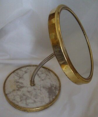 Vintage Brass Double Ended 2 Sided Makeup Mirror with Flex Neck 8.5 tall X 6.5