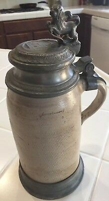 Antique Stoneware Salt Glaze German Lided Beer Stein With Lion Thumb Lift